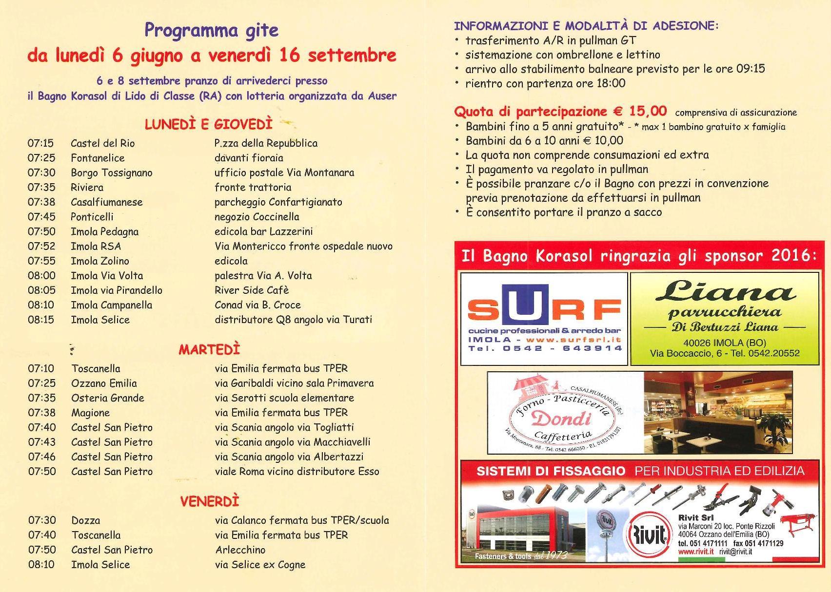 Progetto piano salute estate 2016 coerbus for Bagno korasol